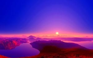 ロシアバイカル湖の日の出